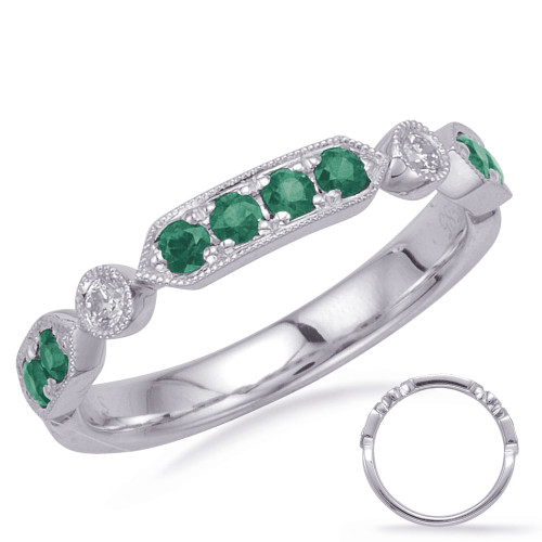 14KT White Gold Emerald & Diamond Stackable Ring  C5832-EWG