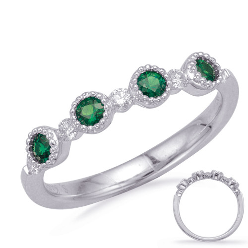 14KT White Gold Emerald & Diamond Stackable Ring  C5831-EWG