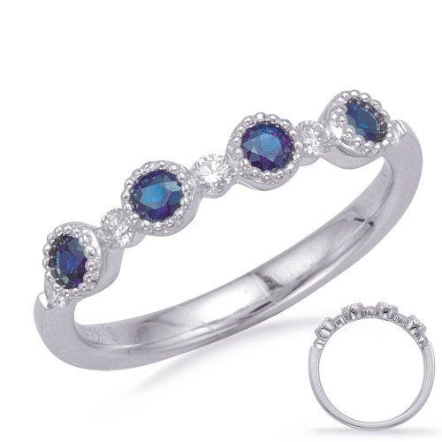 14KT White Gold Sapphire & Diamond Stackable Ring  C5831-SWG