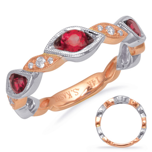 14KT Rose & White Gold Ruby & Diamond Stackable Ring  C5830-RRW