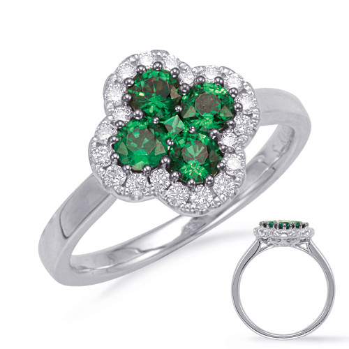 14KT White Gold Emerald & Diamond Stackable Ring  C5828-EWG