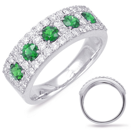 14KT White Gold Emerald & Diamond Stackable Ring  C5791-EWG