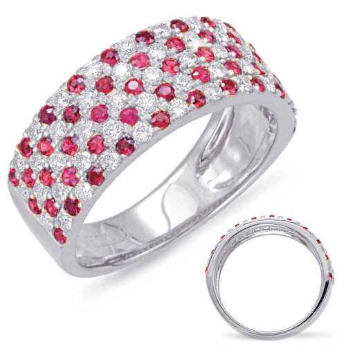 14KT White Gold Ruby & Diamond Stackable Ring  C5790-RWG