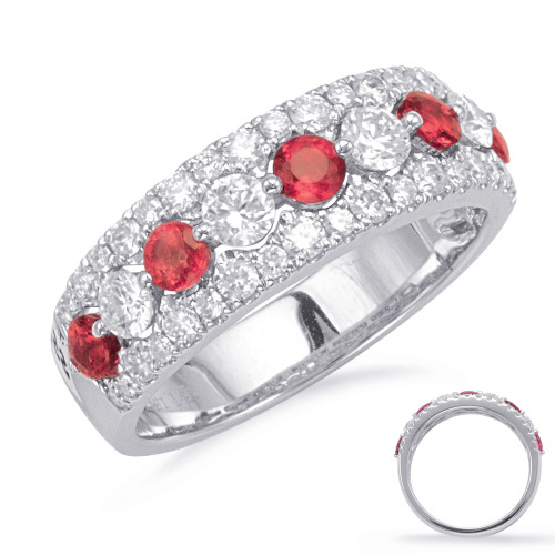 14KT White Gold Ruby & Diamond Stackable Ring  C5829-RWG