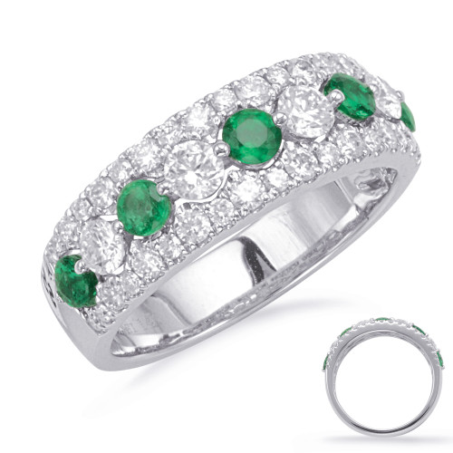 14KT White Gold Emerald & Diamond Stackable Ring  C5829-EWG
