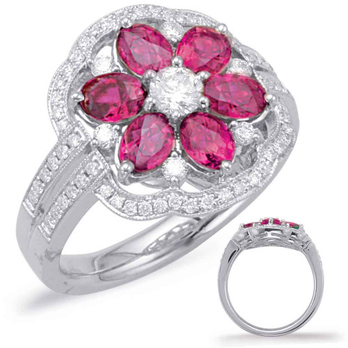 14KT White Gold Ruby & Diamond Stackable Ring  C5759-RWG
