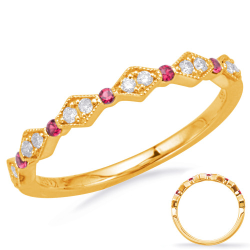 14KT Yellow Gold Ruby & Diamond Stackable Ring  C8031-RYG