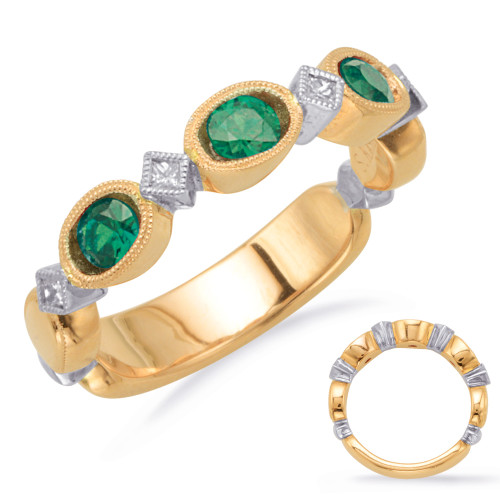 14KT Yellow &  White Gold Emerald & Diamond Stackable Ring  C5807-EYW