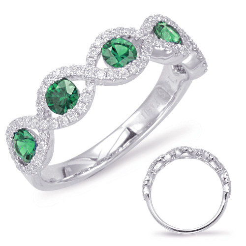 14KT White Gold Emerald & Diamond Stackable Ring  C5787-EWG