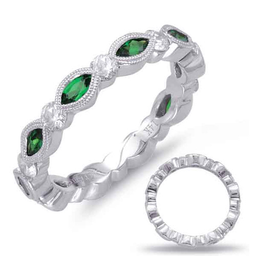 14KT White Gold Emerald & Diamond Stackable Ring  C5778-EWG