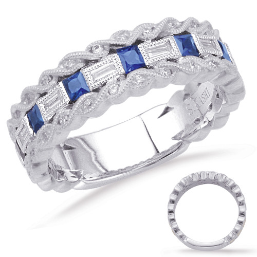14KT White Gold Sapphire & Diamond Stackable Ring  C5806-SWG