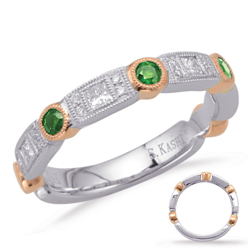 14KT Rose & White Gold Emerald & Diamond Stackable Ring  C5804-ERW