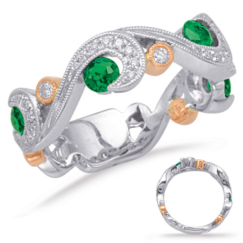 14KT Rose & White Gold Emerald & Diamond Stackable Ring  C5825-ERW