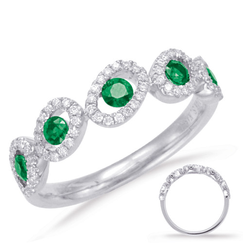 14KT White Gold Emerald & Diamond Stackable Ring  C5788-EWG
