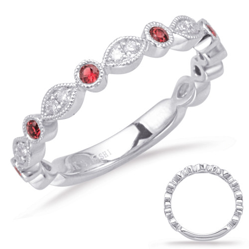 14KT White Gold Ruby & Diamond Stackable Ring  C5827-RWG