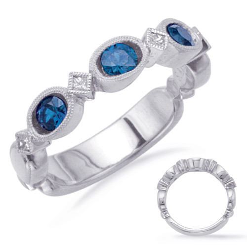 14KT White Gold Sapphire & Diamond Stackable Ring  C5807-SWG