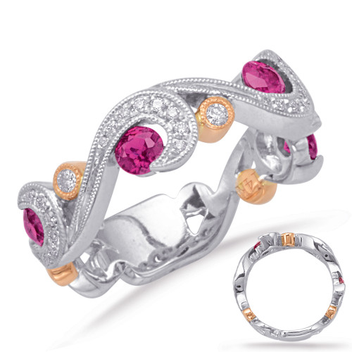 14KT Rose & White Gold Ruby & Diamond Stackable Ring  C5825-RRW