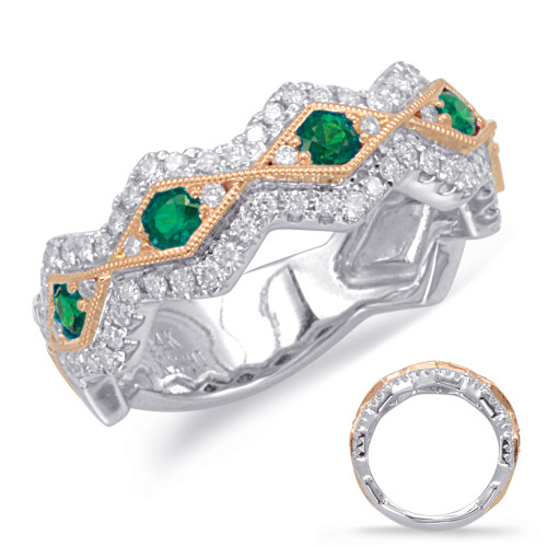 14KT Rose & White Gold Emerald & Diamond Stackable Ring  C5815-ERW