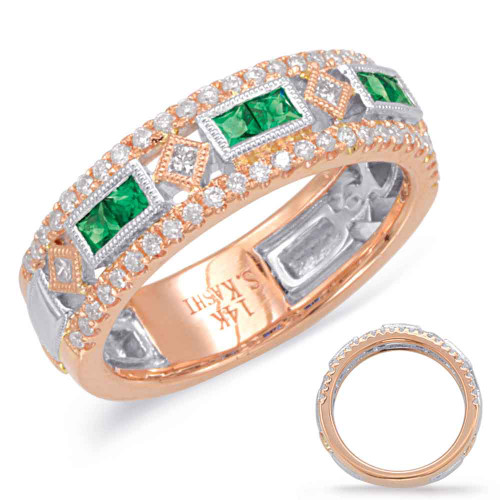 14KT Rose & White Gold Emerald & Diamond Stackable Ring  C5813-ERW