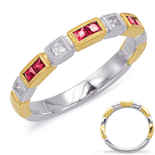Ruby & Diamond Stackable Gemstone Ring  in 14K Yellow and White Gold   C5812-RYW