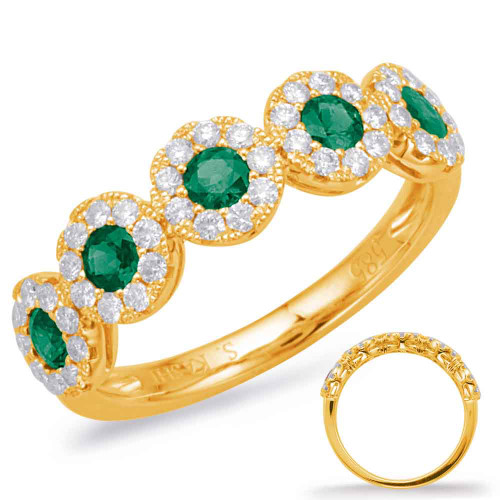Yellow Gold Emerald & Diamond Stackable Gemstone Ring 
