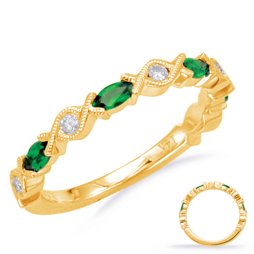 Emerald & Diamond Stackable Gemstone Ring 