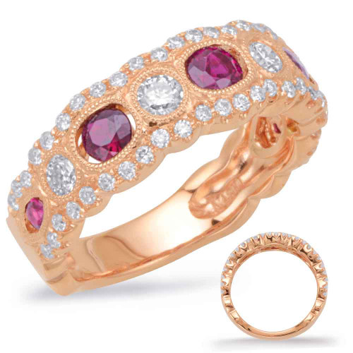 Rose Gold Ruby & Diamond Band 