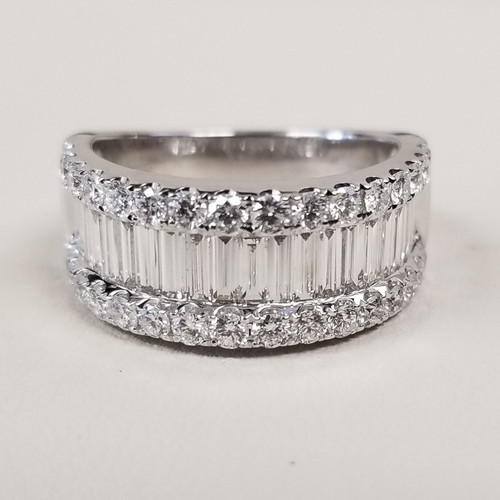 Channel Set Round & Baguette Diamond Ring in 14KT White Gold 2.40 ctw