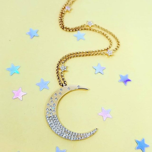18K Rose Gold Crescent Moon Diamond Necklace 0.45 ctw