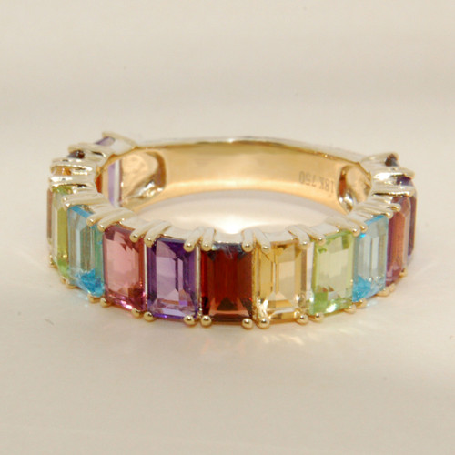 Multicolored Emerald Cut Sapphire Stackable Ring 14K Yellow Gold