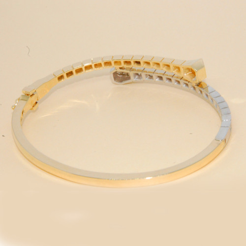 Geometric Diamond Bypass Bangle in 14KT Yellow Gold  0.65 ctw