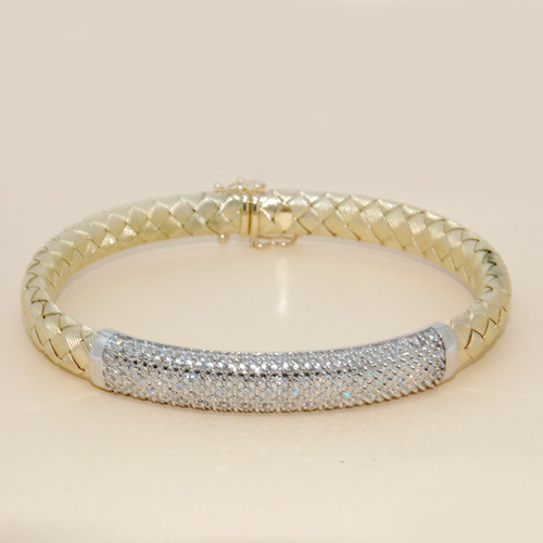 Braided Pave Diamond Bangle in 14KT Yellow Gold  1.30 ctw