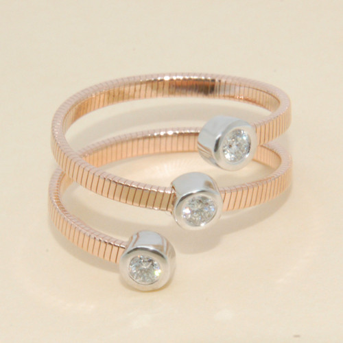 Stackable Diamond Band  with 3 Round Cut Diamonds in 14KT White Gold 0.25 CTW