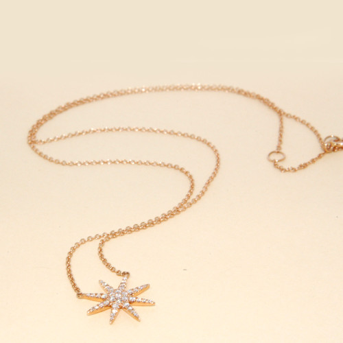 Starburst Diamond Necklace in 18KT Rose Gold 0.30 ctw