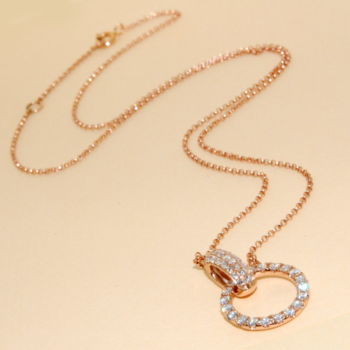 Diamond Circle Necklace in 18KT Rose Gold 0.85 ctw