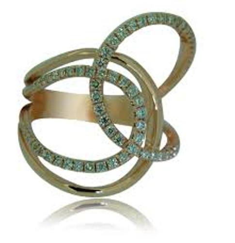 14KT Rose Gold & Diamond Right Hand Swirl Ring
