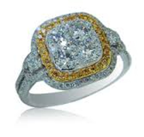 18KT White Two Toned Gold with Round Cut Diamond & Yellow Sapphire Cluster Ring