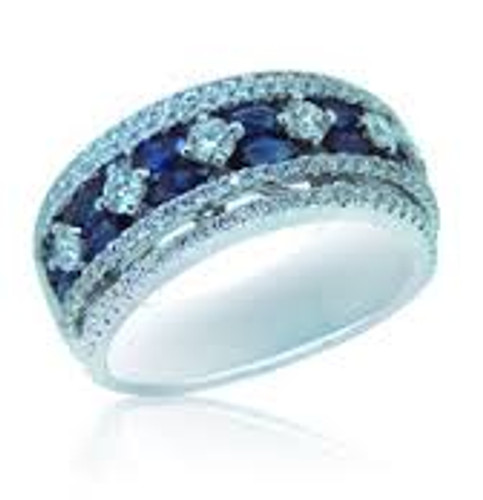 18 KT White Gold Round Cut Diamond & Blue Marquise Sapphire Ring