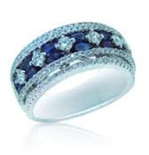 18 KT White Gold Round Cut Diamond & Blue Round Sapphire Ring