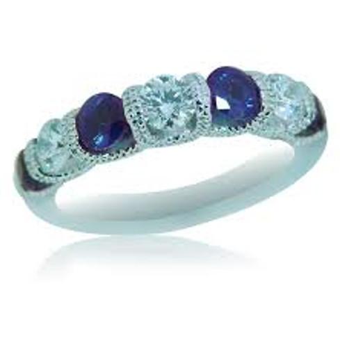 14 KT White Gold Round Cut Diamond & Sapphire Ring in a Milgrain U prong Design