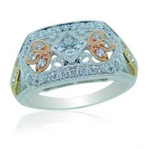14 KT Tri-Colored Gold & Round Cut Diamond Antique Design Right Hand Ring