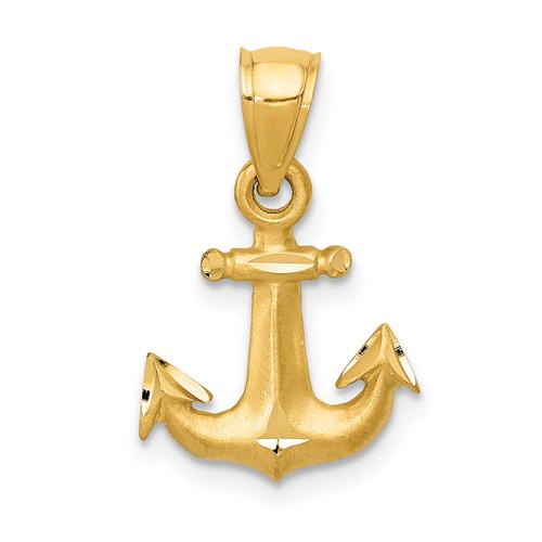 14KT Gold Diamond-cut Anchor Pendant