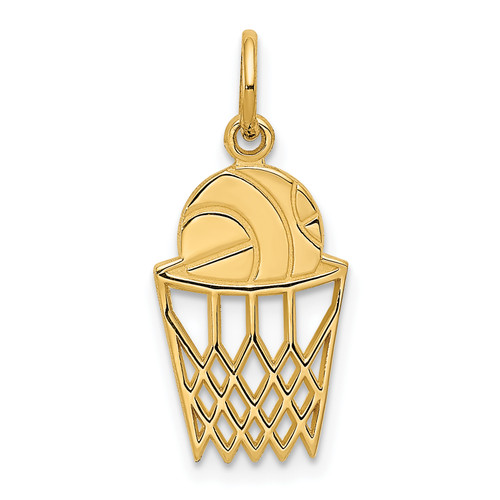 14KT Gold Gold Basketball in Net Charm