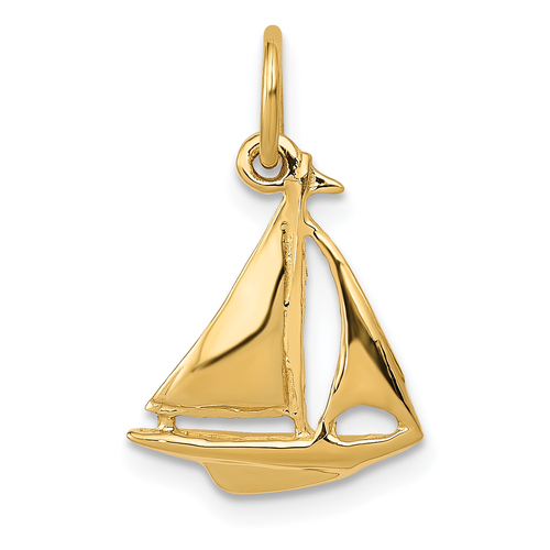 14KT Gold  3D Sailboat Charm