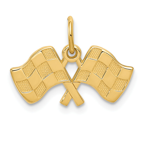 14KT Gold Gold Racing Flags Charm