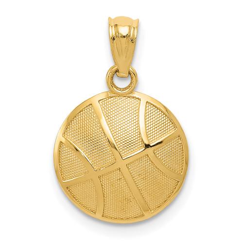 14KT Gold Gold Satin and Polished Basketball Pendant