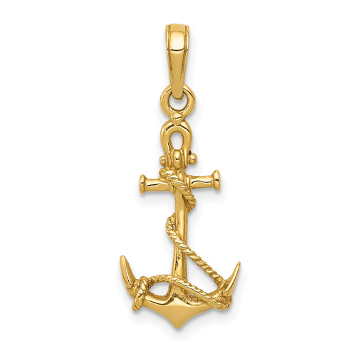 14KT Gold Gold 3-D Anchor With Shackle and Entwined Rope Pendant