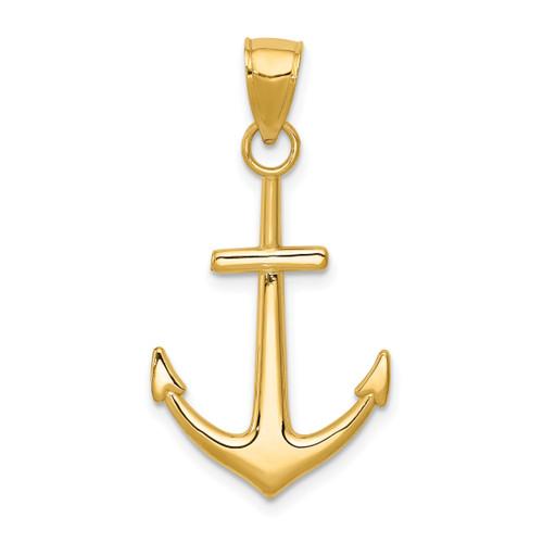 14KT Gold Gold Polished Anchor Pendant