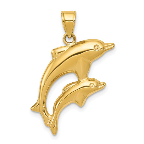 14KT Gold Gold Dolphin Pair Pendant