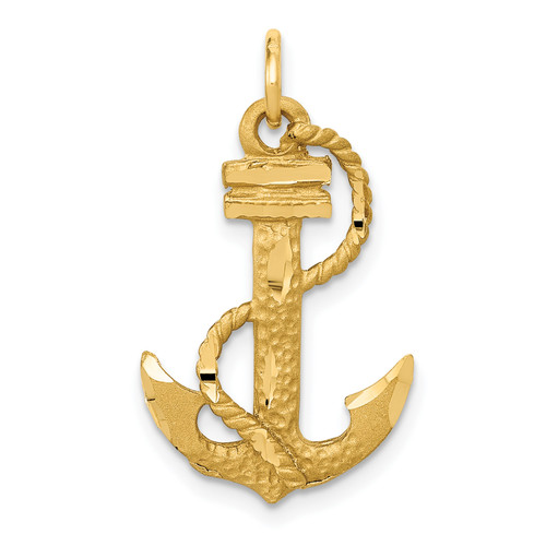 14KT Gold Anchor With  Rope Charm